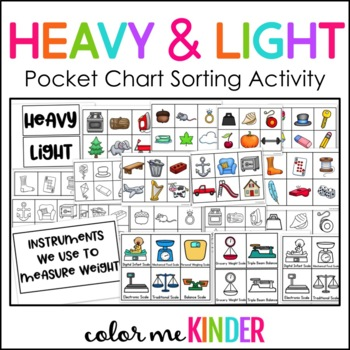 Lesson in a Snap! Heavy & Light Pocket Chart Sorting Activity