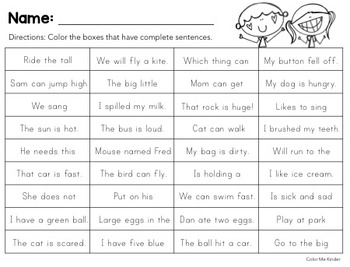Lesson in a Snap! SENTENCES Pocket Chart Activity