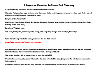 Lesson on Character Traits and Self Discovery- Lunch Bunch