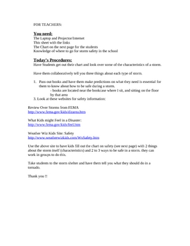Lesson on Severe Storm Safety with Chart Worksheet