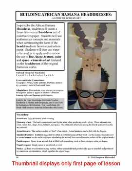 Lesson plan.  Building African Bamana Headdresses