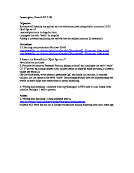 Lesson plan Discovering French Unit 1 Lesson 1B