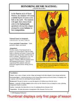 """Lesson plan.  Honoring Henri Matisse:  A Study of """"Icarus"""""""