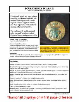 Lesson plan.  Sculpting a Scarab:  A Study of an Egyptian Amulet