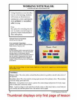 Lesson plan.  Working with Walsh: A Study of Art and Literature