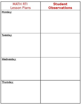 Lesson plan and student observation template