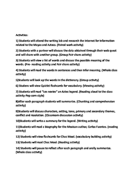 Lesson plan for History of Mexico and connections to literature