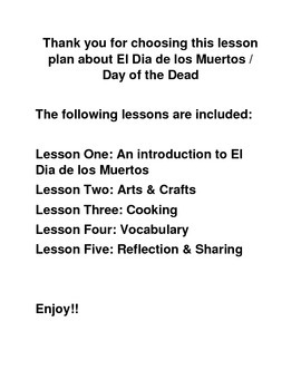Lesson plan for the Day of the Dead / El Dia de los Muertos