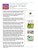 Lesson plan for the book, Dinosaurs, Dinosaurs-project based