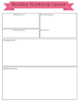 Lesson plan template-Reading Workshop