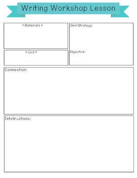 Lesson plan template-Writers workshop