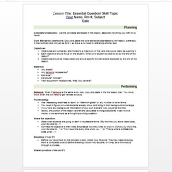 Lesson plan template, annotated and thorough, with samples