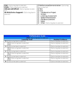 Lesson plan template based on Marzano's Framework