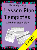 Lesson plan template with partially and completely filled