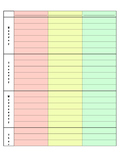Lesson planning grid page for Middle/High School