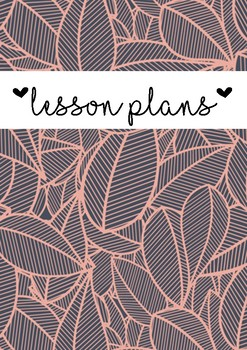 Lesson plans cover page