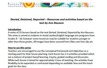 Lesson series for text - Denied, Detained, Deported by Ann Bausum
