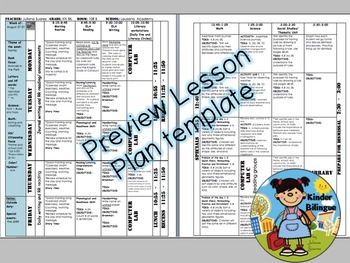 Lesson plan template for kinder