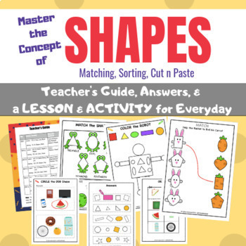 Math-Center Lessons & Activities of SHAPES -  for Pre-K, KG, 1, 2, 3, Homeschool