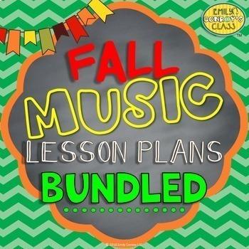 Lessons For Music BUNDLED (Fall music lesson plans for gra