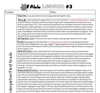 Lessons For Music (Fall Music Lesson Plans for K/1st Grades)