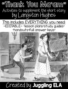 """Activities and Handouts for """"Thank You Ma'am"""" by Langston Hughes"""