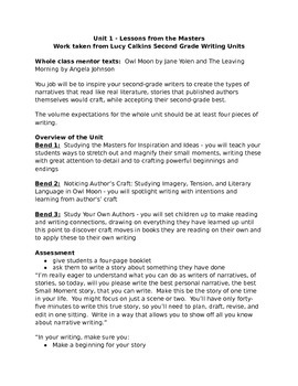 Lessons from the Masters Lucy Calkins Grade 2 Unit 1