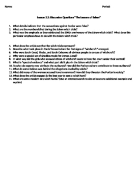 Lessons of Salem Guided Reading