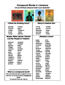 Let Freedom Ring! Black History Literature Unit Compound Words Word Search