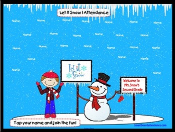 Let It Snow! Animated Smartboard Attendance-Real Falling Snow!