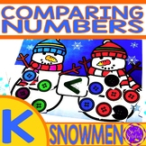 Winter Snowmen Comparing Numbers Game   Greater Than Less