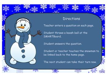 Let It Snow, Let It Snow, Let It Snow, Koosh Ball Game SMARTBoard