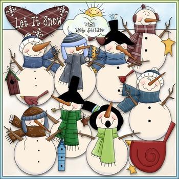 Let It Snow Snowmen Clip Art - Snowman Clip Art - CU Clip Art & B&W