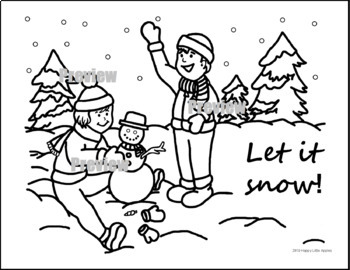 Let It Snow! Winter Kids And Snowman Coloring Sheet by ...