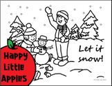 Let It Snow! Winter Kids And Snowman Coloring Sheet