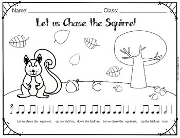 Let Us Chase the Squirrel Folk Song Coloring and Puzzle Activity