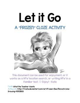 Let it Go - Frozen - Cloze Writing Activity
