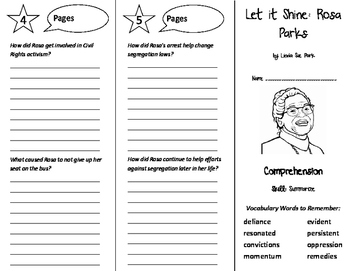 Let it Shine: Rosa Parks Trifold - Treasures 6th Grade Unit 5 Week 5