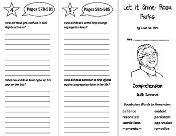 Let it Shine: Rosa Parks Trifold - Treasures 6th Grade Uni