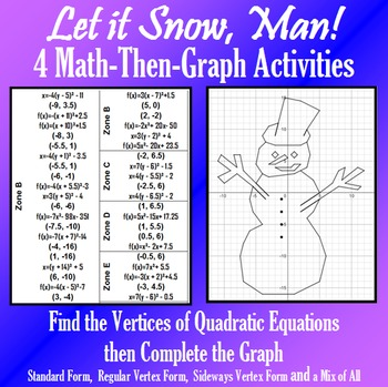 Let It Snow, Man! - Finding Vertices - 4 Math-Then-Graph Activities