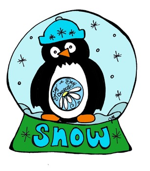 Let it Snow - Snow globe - Winter - Color Clip Art & Line Art
