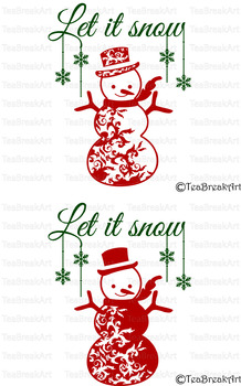 Let it snow Snowman Christmas Word Art Typography PNG EPS svg Cutting Files 694C