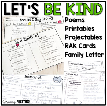 Kindness Mini-Unit - Let's Be Kind - Poems Printables Projectables