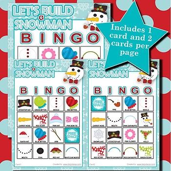 Let's Build a Snowman 4x4 Bingo 60 Cards