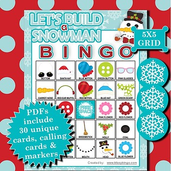 Let's Build a Snowman 5x5 Bingo 30 Cards