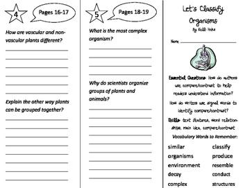 Let's Classify Organisms Trifold - ReadyGen 3rd Grade Unit