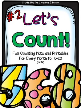 Let's Count 2: Counting Mats and Printables in BW