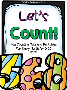 Let's Count: Counting Mats and Printables in BW