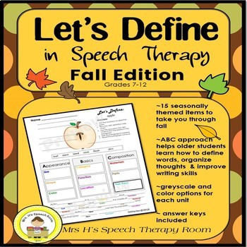 Let's Define in Speech Therapy - Fall Edition