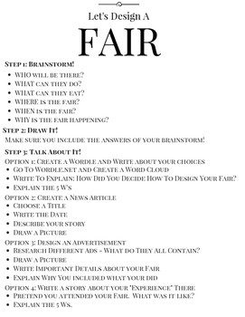 Let's Design A Fair! Creative Differentiated Instruction F